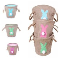 Wholesale easter basket gifts for sale - Group buy Fashion Easter Linen basket Cute Gifts Tote Handbags Double Raised Basket Rabbit Burlap Bags Party Favor EEA497