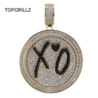 ingrosso collana spinner in argento -Topgrillz New Xo Spinner Pendente Collana Iced Out Hip Hop / punk Oro Argento Catene Colorate Per Uomo Cz Charms Gioielli Regalo C19022301