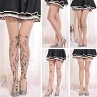 calças impressas tatuadas venda por atacado-6 Styles Mulheres Tattoo calças justas Lolita Fantasia Meias padrões bonitos presentes impressos Meias senhoras