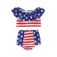 maillot de bain drapeau américain achat en gros de-Maillot de bain bébé fille été drapeau américain Independence Fête nationale Etats-Unis 4 juillet filles Star Stripe dentelle maillot de bain sans manches deux pièces ensemble
