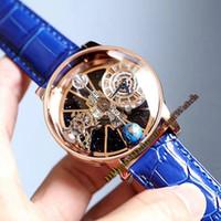 tourbillon iskelet mekanik saat toptan satış-Epic x chrono astronomik tourbillon evren toprak hollow İskelet dial gül altın sarılmış kristal kılıf deri kayış mekanik saatler