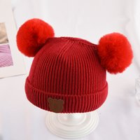 60cf1894ca5 New Autumn and winter children Cartoon Bear hat baby Double ball Woolen hat  Red Black Pink Coffee color Gray warm cap 3pcs lot