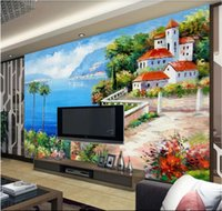 Wholesale building modern art painting for sale - Group buy 3d wallpaper custom photo mural Mediterranean landscape painting building wall home decor wall art pictures