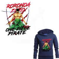 uma peça anime roupas venda por atacado-Popular anime one piece roronoa zoro iron-on patches para roupas diy t-shirt roupas patches etiqueta de transferência térmica