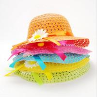 bebek erkek saman yaz şapka toptan satış-Çiçek Bebek Erkek Güneş Hasır Şapka Yaz Çocuklar Kız Kap Güzel Straw Kap Yaz yürüyüş kapaklar Straw Tote Çanta Çanta Ile