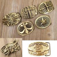 fivela de latão vintage venda por atacado-A Versão dos EUA do Cinto De Fivela de Cobre de Bronze de Couro Fivela de Couro Cinto De Fivela de Prata Antigo Do Vintage de Moda Cinto de Fivela de Cu