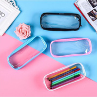 Wholesale transparent pen bag resale online - PVC Pencil Bag Zipper Pouch School Students Clear Transparent Waterproof Plastic PVC Storage Box Pen Case Mini