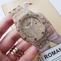 relógio de ouro real venda por atacado-Venda Por Atacado Relógios de luxo por atacado de carvalho reais Relógio de luxo famoso dos homens luxo diamante rosa relógio de ouro Relógio de quartzo de aço inoxidável montres