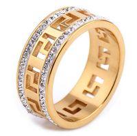 erkekler için altın taş yüzük tasarımları toptan satış-Retro Altın Link Yüzük Erkek WatchBand Tasarım Tenis Yüzük Erkek Yüzük Altın Mikro Açacağı CZ Taş Diamonds Ile Oymak