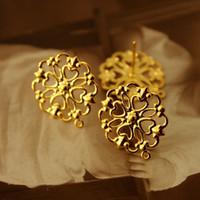 ingrosso filigrana d'ottone placcato argento-50 pezzi in oro argento anticato bronzo placcato ottone filigranato pizzo acciaio orecchino NICKEL FREE (EAR-13)