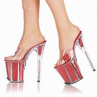 tacones gruesos al por mayor-Zapatos de boda transparentes de tacón alto atractivos Zapatos de baile de baile de 20 cm con tacones finos y suelas gruesas para las chicas de verano que usan