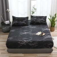 Wholesale bedspread resale online - Black Marble Pattern Bedspread Polyester Elastic Bed Cover Fitted Sheet Bed Protector Mattress Dustproof Pillowcases