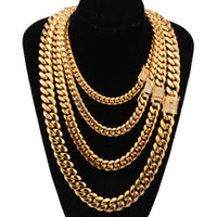 Wholesale heavy pendants for men resale online - 8 mm Wide Stainless Steel Cuban Miami Chains Necklaces Cz Zircon Box Lock Big Heavy Gold Chain For Men Hip Hop Rock Jewelry J190711