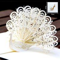 origami pop up cartão de casamento venda por atacado-Pavão Oco Feito À Mão Kirigami Origami 3D Pop UP Cartões de Convite de Casamento Cartão Postal Para Festa de Casamento de Aniversário Presente
