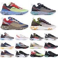 mavi ışıklar toptan satış-Elemanı tepki 87 Gizli Koşu Ayakkabıları Yelken Işık Kemik Mavi Chill Güneş Antrasit Siyah Tasarımcı Spor Sneakers Boyutu 36-45