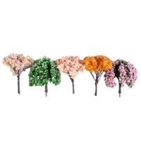 ingrosso miniature tree-16pcs in miniatura Fairy Garden Tree Bella realistica decorativo vivido colorato micro paesaggio Deocr fai da te ornamento del giardino fai da te