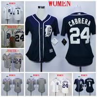 ingrosso maglia blu grigio-T-shirt da donna Lady Kid Kid Detroit Jose Iglesias Tigri Miguel Cabrera Maglie da baseball bianche grigio blu bianche
