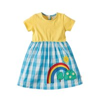 Wholesale cotton patchwork baby for sale - Baby Girl Clothes Summer Cotton Dress with Appliques Designer Kids Clothes Unicorn Party Dress for Kids Clothing