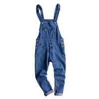 Wholesale vintage suspenders pants resale online - Men s Vintage Striped Denim Jumpsuit Men s Women s Slim Fit Jumpsuit Vintage Denim Workwear Suspenders Bib Pants Size XXL