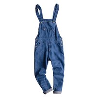 полосатые подтяжки оптовых-Men's Vintage Striped Denim Jumpsuit Men's / Women's Slim Fit Jumpsuit Vintage Denim Workwear Suspenders / Bib Pants Size XXL