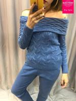 terninhos feito malha de lãs venda por atacado-Cashmere + torção de lã malha conjuntos quentes barra pescoço camisola de veludo + vison calças de cashmere duas peças de lã elástica ternos wq112