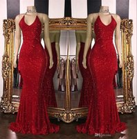 Wholesale coral sparkle prom dress for sale - Group buy 2019 Real Photos Red Sparkling Sequins Mermaid Long Prom Dresses Halter Beaded Backless Sweep Train Formal Party Evening Dresses BC1085