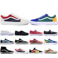 eski moda yeni ayakkabı toptan satış-Vans Ucuz Yeni Van KAPALı DUVAR eski skool KORKUSU KORKUSU erkek bayan tuval sneakers YACHT CLUB Için MARSHMALLOW moda paten rahat ayakkabılar