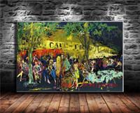 paris zimmer dekor großhandel-Cafe De Flore 1980 Paris, Leinwand Malerei Wohnzimmer Wohnkultur Moderne Wandkunst Ölgemälde