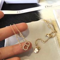 halsketten brief d großhandel-Designer Halsketten für Geschenk Hohe Qualität Damen D brief Anhänger Luxus 18 Karat Vergoldet Halsketten für Frauen Mode-accessoires