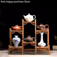 Wholesale wood carving accessories resale online - Chinese Kung Fu tea pot Crafts Display Holder Shelves Teapot Tea Set Wood carving Display Stand Decoration Home Tea Accessories SH190918