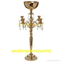 Wholesale led table large for sale - Group buy Gold Flower Vases Candle Holders Stand Wedding Decor Road Lead Table Centerpiece Rack Pillar Party Candlestick Candelabra large flower bowl
