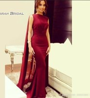 Wholesale royal cape dress for sale - Group buy 2020 Burgundy Trumplet Formal Evening Dresses with Chiffon Cape Arabic Dubai Special Occasion Party Dress Prom Gowns