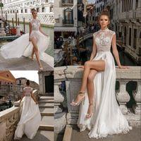 Wholesale pus size dresses for sale - Group buy Beach Split Wedding Dresses Lace Appliqued Sheer High Neck Bohemian Bridal Gowns Pus Size Chiffon Wedding Dress