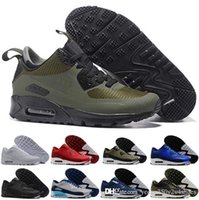 zapatillas de invierno en línea al por mayor-Air Cushion Best Quality 90 Running Shoes High men winter Sneaker shoes Para la venta caliente en línea Eur talla 40-46