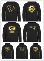черная толстовка с капюшоном оптовых-Мужская Питтсбург Чикаго Steeler Green Bay Packer Oakland Медведи Raider Pro Line Black Gold Collection пуловер Hoodie