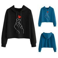 finger hoodies großhandel-Bts crop top hoodie Herz Finger Frauen Sweatshirts Hoodies Harajuku Kawaii Liebe Herz harajuku Kpop pullover streetwear tops