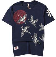 Wholesale mens long t shirt hip hop for sale - Group buy 2019 Japanese Streetwear T Shirt Crane Sun Print Mens Harajuku T Shirt Summer Hip Hop Tshirt Cotton Short Sleeve Tops Tees Black