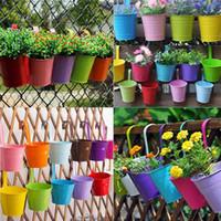 ingrosso colori della pentola del fiore-Candy Colors Flower Metal Hanging Vasi da giardino Balcone parete verticale Hang Bucket Titolare di ferro Cestino con rimovibile Tin Home Decor