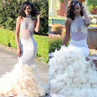 Wholesale party online - Ruffles Mermaid White Prom Dresses For Black Girls Formal Evening Party Gowns Pageant Dress Illusion Top Beaded Halter Neck Long Vestidos