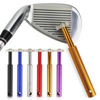 apontador do sulco do golfe venda por atacado-Ferramenta de sulco de golfe, clube de golfe ferro Wedge Club Groove Sharpener Cleaner, clube de golfe Limpar ferramenta V U lâmina 6 acessórios de golfe de cor