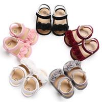 Wholesale sandals for girls medium resale online - Toddler baby girl sandals summer sweet elegant flower pink grey Princess Shoes sandals kids sandals for girls