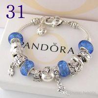 chamilia charm perlen für armbänder großhandel-2019 neue charme armband silber pandora armbänder für frauen herz armband blau chamilia perlen blume armband diy schmuck