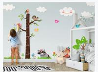 grandes desenhos animados adesivos para paredes venda por atacado-Personalizado Papel De Parede Da Foto Para Paredes Dos Desenhos Animados grande árvore de medição de altura adesivo de parede do quarto das crianças papel de parede mural papel de parede para paredes 3d