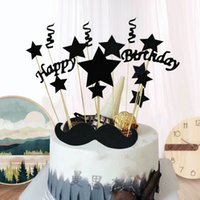 fiestas de crema negro al por mayor-1 Unidades DIY Black Gold Happy Birthday Star Cake Ice Cream Cupcake Toppers Picks Mom Dad Boy Girl Kids Birthday Party Dessert Decor
