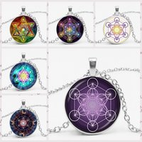 Wholesale chakra art resale online - New Metatron Cube Divine Geometry Spirit Pendant Necklace Convex Dome Glass Six pointed Star Magic Chakra Art Ladies Jewelry