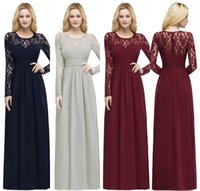 Wholesale illusion long sleeve mother bride dress for sale - Group buy Cheap Long Sleeves Bridesmaid Dresses Cheap Lace Appliqued Formal Prom Evening Gown In Stock Mother Of the Bride Dresses CPS867