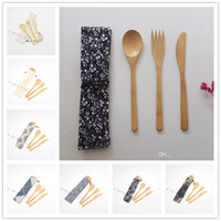 Wholesale chopsticks bag for sale - Group buy Eco Friendly Bamboo Cutlery Set Knife Fork Spoon SET Portable Flatware With Cloth Bag Student Tableware Set Travel Dinnerware Set