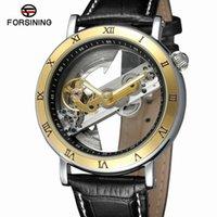 relógio de couro esqueleto mens marrom venda por atacado-Forsining 2018 Luxo Design Transparente Caso Pulseira De Couro Marrom Mens Relógios Top Marca de Luxo Automático Esqueleto Relógios de Pulso Y19051703