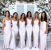 Wholesale silk satin sheath wedding dresses for sale - Group buy Elegant Vintage Sheath Long Bridesmaid Dresses New Cheap Sexy Straps Spaghetti Satin Maid of Honor Gowns Wedding Party Gowns BM0883