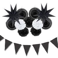 white fans for wedding оптовых-12шт (черный ,белый )бумажные украшения набор декора партии бумажные вентиляторы звезды для Дня рождения свадьба детские души сад пространство декор